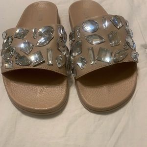 RENVY Tan Embellished gemstone slide shoes Size 8